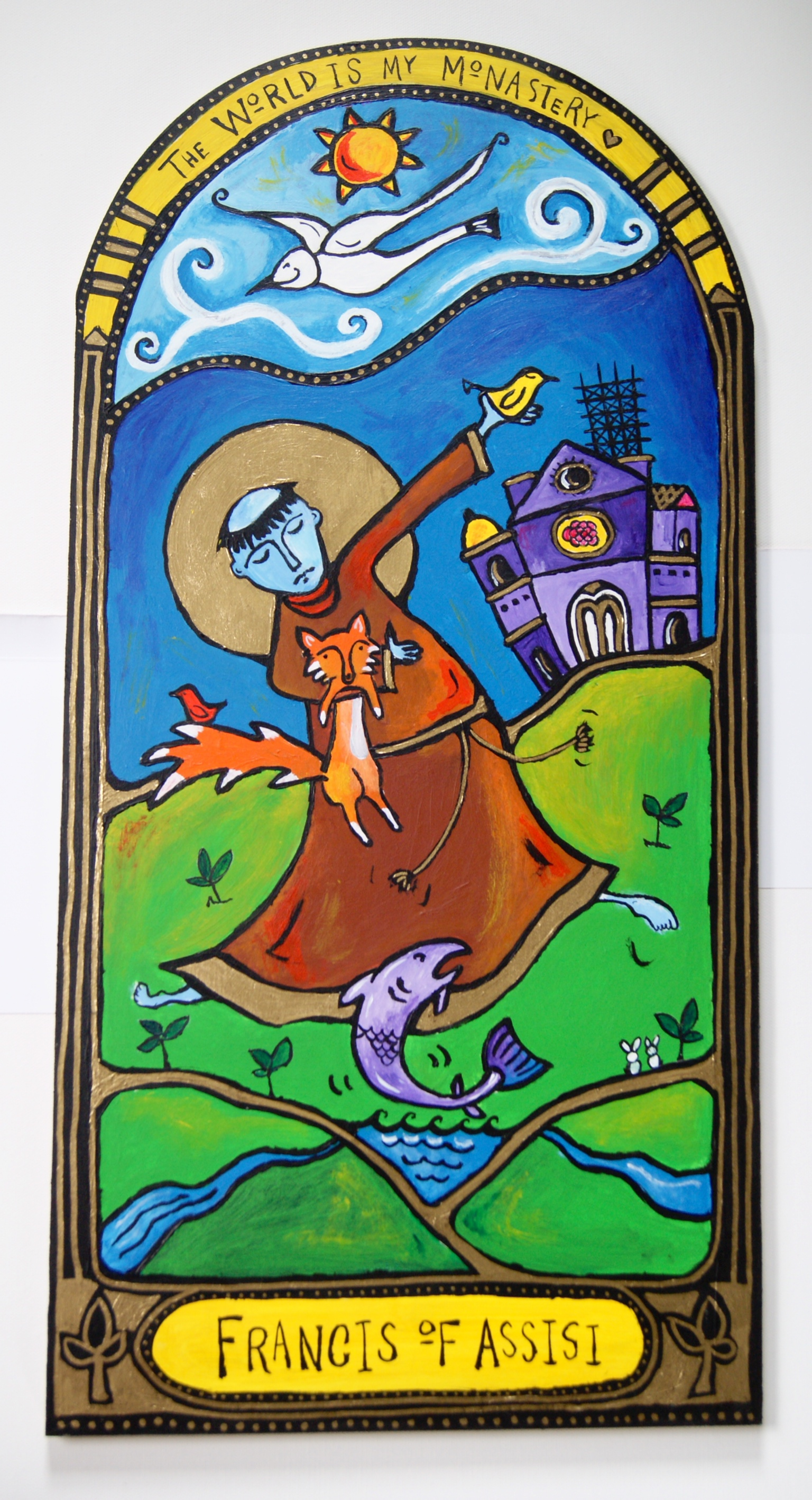 "Image from the ""Dancing Monk"" series for Abbey of the Arts by Marcy Hall. Buy the icon here."
